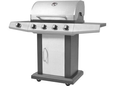 Barbecue à gaz 4 + 1 zone de cuisson Noir et argenté - vidaXL