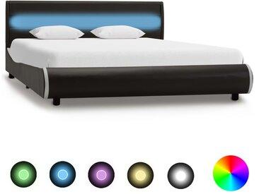 Cadre de lit avec LED Anthracite Similicuir 120x200 cm - vidaXL