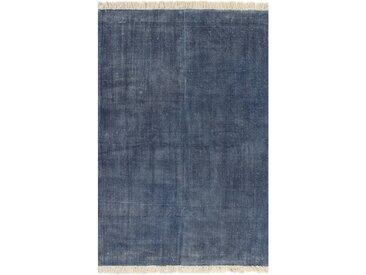 Tapis Kilim Coton 160 x 230 cm Bleu - vidaXL