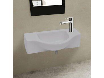 Vasque à trou pour robinet céramique Blanc pour salle de bain - vidaXL