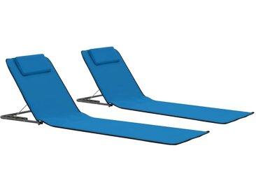 Tapis de plage pliables 2 pcs Acier et tissu Bleu - vidaXL