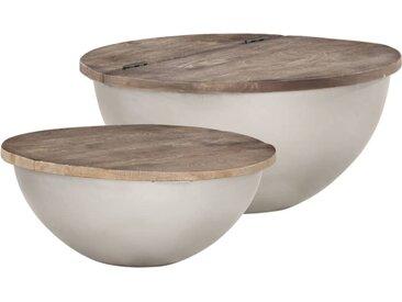 Ensemble de 2 tables basses Forme de bol Bois manguier massif - vidaXL