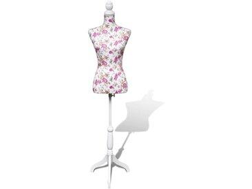 Buste de couture de femme en coton blanc motifs à rosiers  - vidaXL