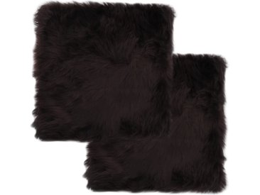 Coussins de chaise 2pcs Marron 40x40cm Peau de mouton véritable - vidaXL