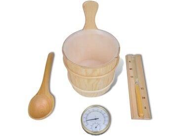 Accessoire de sauna 5pcs Seau avec cuillère sablier thermomètre  - vidaXL
