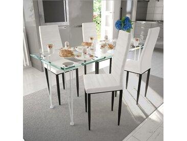 Ensemble de salle à manger 4 chaises Blanc et 1 table en verre - vidaXL