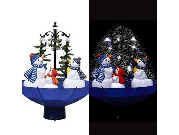 Arbre de Noël neigeux avec base de parapluie Bleu 75 cm PVC - vidaXL