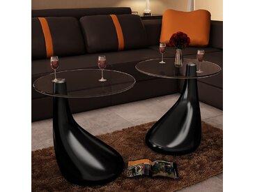 Table basse et dessus de table Verre rond Noir brillant 2 pcs  - vidaXL