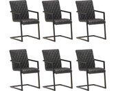 Chaises de salle à manger cantilever 6 pcs Noir Cuir véritable - vidaXL