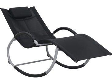 Chaise longue pliable avec oreiller Noir Textilène  - vidaXL