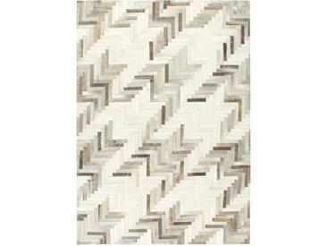 Tapis à poils Cuir véritable Patchwork 160x230 cm Gris/Blanc - vidaXL