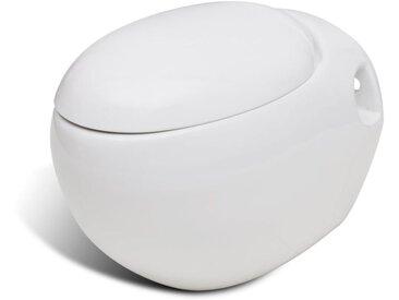 Cuvette WC suspendue blanche avec abattant - vidaXL
