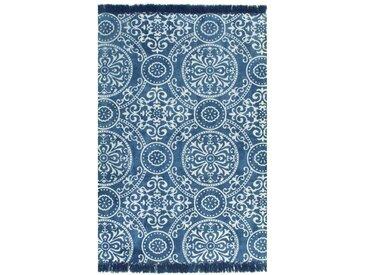 Tapis Kilim Coton 120 x 180 cm avec motif Bleu - vidaXL