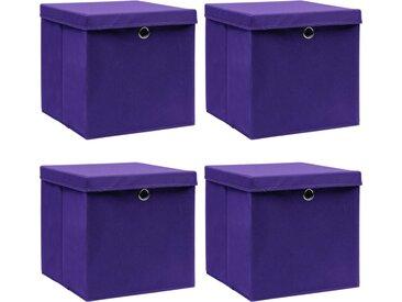 Boîtes de rangement et couvercles 4 pcs Violet 32x32x32cm Tissu - vidaXL