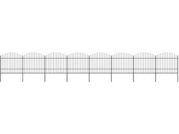 Clôture de jardin à dessus en lance Acier (1,5-1,75)x13,6m Noir - vidaXL