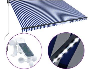 Auvent avec capteur de vent et LED 500x300 cm Bleu et blanc - vidaXL