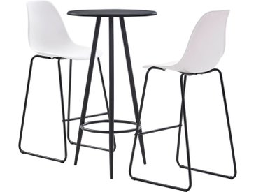Ensemble de bar 3 pcs Plastique Blanc - vidaXL