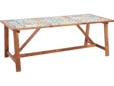 Table à dîner de jardin 206x90x75 cm Bois d'acacia et carreaux - vidaXL