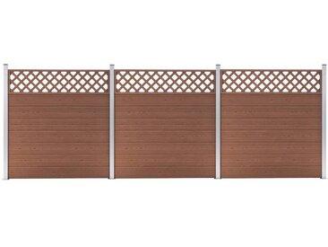 Ensemble de clôture WPC 3 Carré 526x185 cm Marron - vidaXL