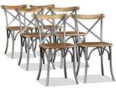 Chaise de salle à manger 6 pcs Bois de manguier massif et acier - vidaXL