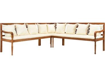 Canapé de jardin 3 pcs avec coussins Bois d'acacia solide - vidaXL