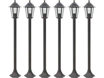 Lampe de jardin à piquet 6 pcs E27 110 cm Aluminium Bronze - vidaXL