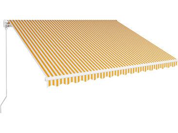 Auvent manuel rétractable 400x300 cm Jaune et blanc - vidaXL