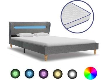 Lit LED matelas à mémoire de forme Gris clair Tissu 120x200 cm - vidaXL