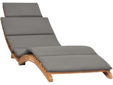 Chaise longue pliable avec coussin gris foncé Bois de teck - vidaXL