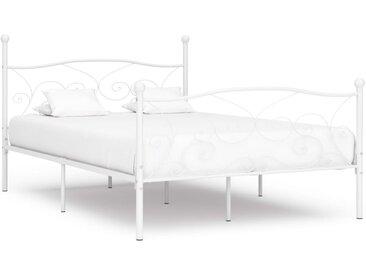 Cadre de lit et sommier à lattes Blanc Métal 160 x 200 cm - vidaXL