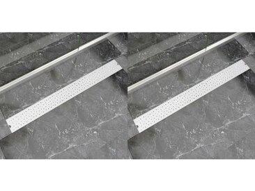 Drain de douche linéaire 2 pcs 1030 x 140 mm Acier inoxydable - vidaXL