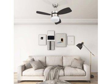 Ventilateur de plafond lampe et télécommande 76 cm Marron foncé - vidaXL