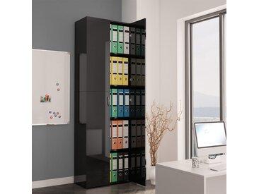 Armoire de bureau Noir brillant 60x32x190 cm Aggloméré - vidaXL