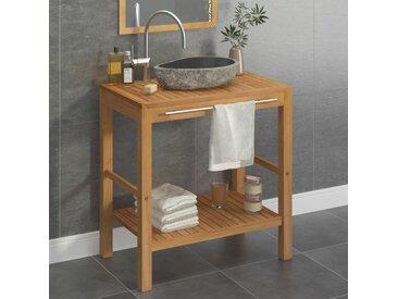 Armoire de toilette Teck solide et lavabo en pierre de rivière  - vidaXL