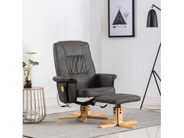 Fauteuil de massage avec repose-pieds Gris Similicuir - vidaXL