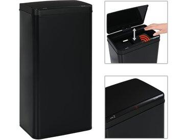 Poubelle à capteur automatique Noir Acier 80 L - vidaXL