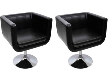 Chaise de bar 2 pcs Cuir artificiel Noir  - vidaXL