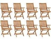 Chaises pliables de jardin 8 pcs Bois de teck solide - vidaXL