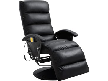 Fauteuil de massage TV Noir Similicuir - vidaXL