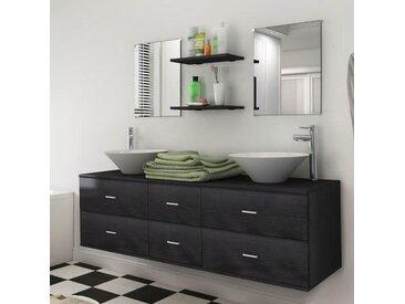 Mobilier de salle de bain avec lavabo 7 pcs Noir - vidaXL