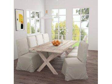 Table de salle à manger 220x100x75 cm Bois de teck solide - vidaXL