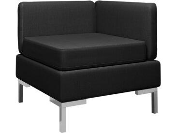 Canapé d'angle sectionnel avec coussin Tissu Noir - vidaXL