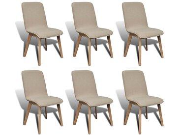 Chaise de salle à manger 6 pcs Cadre en chêne Tissu Beige   - vidaXL