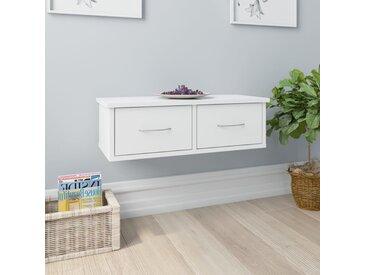 Étagère murale à tiroirs Blanc brillant 60x26x18,5 cm Aggloméré - vidaXL