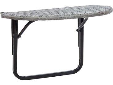 Table de balcon Gris 60x60x50 cm Résine tressée - vidaXL