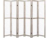 Cloison de séparation 6 panneaux Blanc 210x165 cm Bois solide - vidaXL