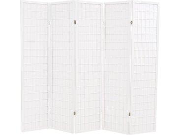 Cloison de séparation 5 panneaux Style japonais 200x170cm Blanc - vidaXL