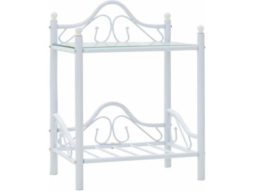 Table de chevet Acier et verre trempé 45 x 30,5 x 60 cm Blanc - vidaXL