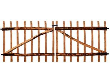 Portillon double de clôture Bois noisetier imprégné 300x120 cm - vidaXL
