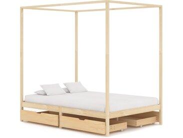 Cadre de lit à baldaquin avec 4 tiroirs Bois de pin 140x200 cm - vidaXL